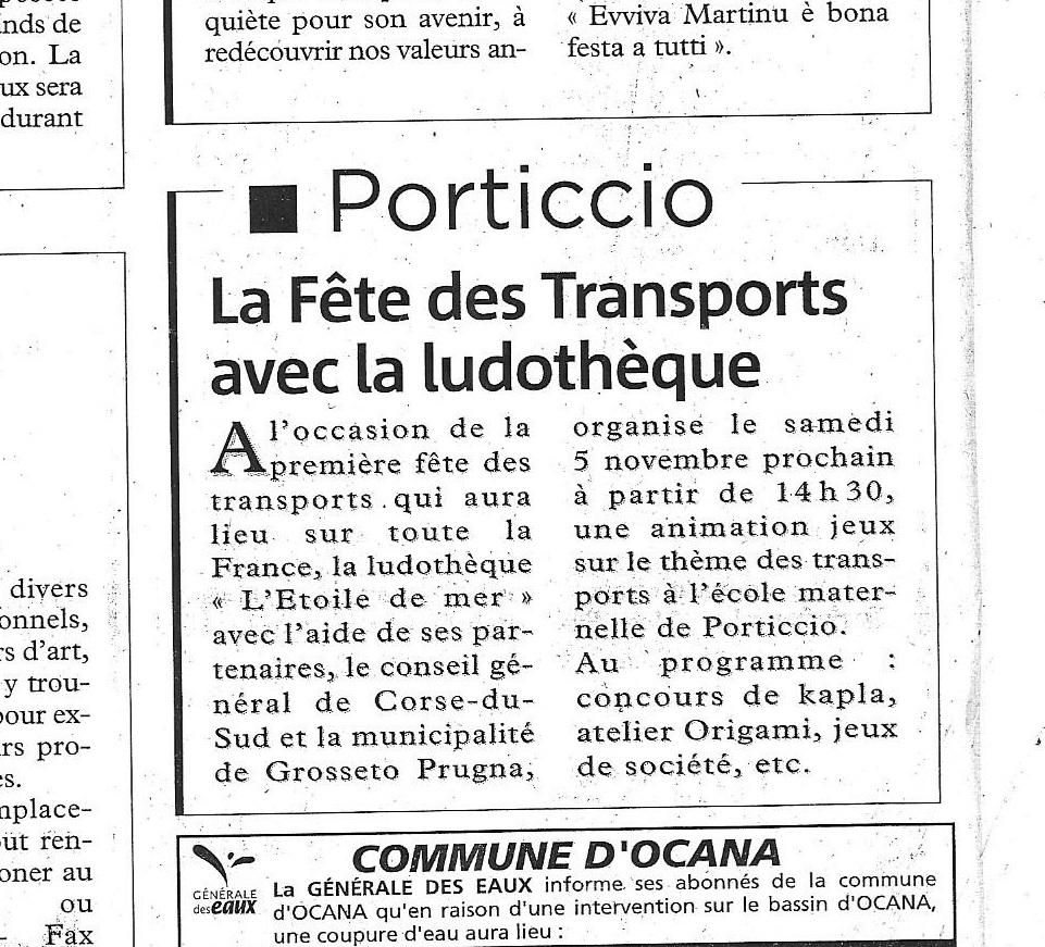 Corse Matin 2005 - 3 Novembre
